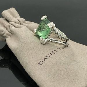 David Yurman Cushion in Point Prasiolite Ring